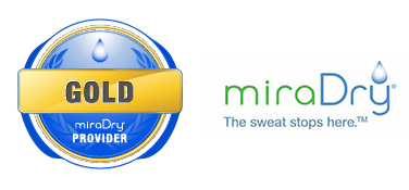 miraDry logo with the sweat stops here tagline.