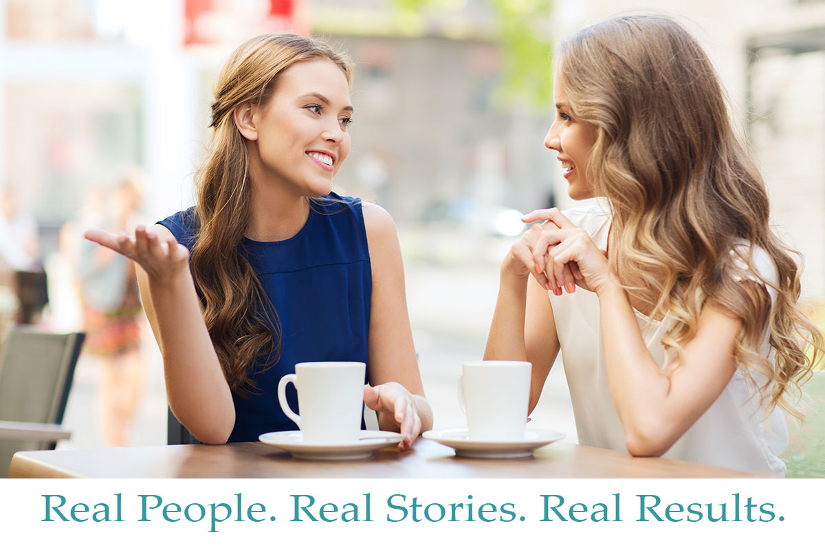 Two women sharing stories over coffee.