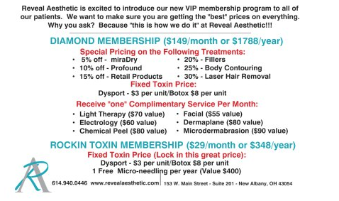 VIP Rewards Options. Call 614-940-0446 for more information.