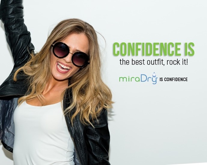 "image of girl in sunglasses smiling with the tagline ""confidence is the best outfit, rock it. miraDry is confidence."""