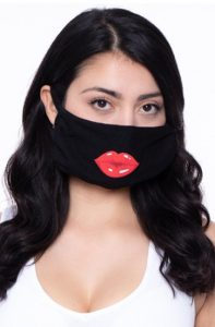 Woman wearing a black face mask with red lips on it over her nose and mouth